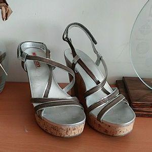 Prada Wedge Cork Sandals 38